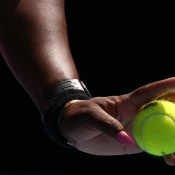 MELBOURNE, AUSTRALIA - JANUARY 19:  Detail of hands of Serena Williams of the United States serves in her fourth round match against Ana Ivanovic of Serbia during day seven of the 2014 Australian Open at Melbourne Park on January 19, 2014 in Melbourne, Australia.  (Photo by Michael Dodge/Getty Images)