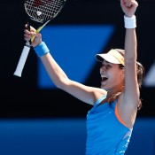 MELBOURNE, AUSTRALIA - JANUARY 19:  Ana Ivanovic of Serbia celebrates winning her fourth round match against Serena Williams of the United States during day seven of the 2014 Australian Open at Melbourne Park on January 19, 2014 in Melbourne, Australia.  (Photo by Darrian Traynor/Getty Images)