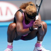 MELBOURNE, AUSTRALIA - JANUARY 19:  Serena Williams of the United States reacts to a point in her fourth round match against Ana Ivanovic of Serbia during day seven of the 2014 Australian Open at Melbourne Park on January 19, 2014 in Melbourne, Australia.  (Photo by Darrian Traynor/Getty Images)