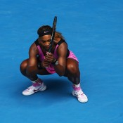 MELBOURNE, AUSTRALIA - JANUARY 19:  Serena Williams of the United States reacts in her fourth round match against Ana Ivanovic of Serbia during day seven of the 2014 Australian Open at Melbourne Park on January 19, 2014 in Melbourne, Australia.  (Photo by Quinn Rooney/Getty Images)