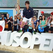 MELBOURNE, AUSTRALIA - JANUARY 19: Kei Nishikori of Japan poses at the AO Social Shack during day7 of the 2014 Australian Open at Melbourne Park on January 19, 2014 in Melbourne, Australia.  (Photo by Vince Caligiuri/Getty Images)
