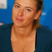 MELBOURNE, AUSTRALIA - JANUARY 20:  Maria Sharapova of Russia talks to the media after losing her fourth round match against Dominika Cibulkova of Slovakia during day eight of the 2014 Australian Open at Melbourne Park on January 20, 2014 in Melbourne, Australia.  (Photo by Graham Denholm/Getty Images)