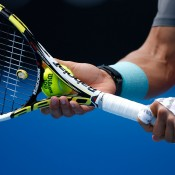 MELBOURNE, AUSTRALIA - JANUARY 20: Details of hands on Rafael Nadal of Spain as he serves in his fourth round match against Kei Nishikori of Japan during day eight of the 2014 Australian Open at Melbourne Park on January 20, 2014 in Melbourne, Australia.  (Photo by Scott Barbour/Getty Images)
