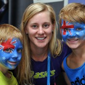 MELBOURNE, AUSTRALIA - JANUARY 20:  Alison Riske of the United States poses with Aussie fans at the WTA booth during day 8 of the 2014 Australian Open at Melbourne Park on January 20, 2014 in Melbourne, Australia.  (Photo by Vince Caligiuri/Getty Images)