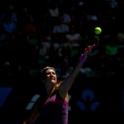 MELBOURNE, AUSTRALIA - JANUARY 20:  Victoria Azarenka of Belarus serves in her fourth round match against Sloane Stephens of the United States during day eight of the 2014 Australian Open at Melbourne Park on January 20, 2014 in Melbourne, Australia.  (Photo by Ryan Pierse/Getty Images)