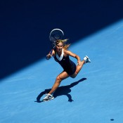 MELBOURNE, AUSTRALIA - JANUARY 20:  Dominika Cibulkova of Slovakia plays a forehand in her fourth round match against Maria Sharapova of Russia during day eight of the 2014 Australian Open at Melbourne Park on January 20, 2014 in Melbourne, Australia.  (Photo by Matt King/Getty Images)