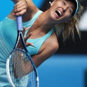 MELBOURNE, AUSTRALIA - JANUARY 20:  Maria Sharapova of Russia serves in her fourth round match against Dominika Cibulkova of Slovakia during day eight of the 2014 Australian Open at Melbourne Park on January 20, 2014 in Melbourne, Australia.  (Photo by Clive Brunskill/Getty Images)