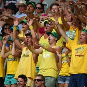 MELBOURNE, AUSTRALIA - JANUARY 15:  Australian fans show their support during the first round men's doubles match between Pat Rafter of Australia and Lleyton Hewitt of Australia gainst Eric Butorac of the United States and Raven Klassen of South Africa during day three of the 2014 Australian Open at Melbourne Park on January 15, 2014 in Melbourne, Australia.  (Photo by Scott Barbour/Getty Images)