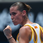 MELBOURNE, AUSTRALIA - JANUARY 15:  Flavia Pennetta of Italy celebrates in her second round match against Monica Puig of Puerto Rico during day three of the 2014 Australian Open at Melbourne Park on January 15, 2014 in Melbourne, Australia.  (Photo by Ryan Pierse/Getty Images)