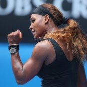 MELBOURNE, AUSTRALIA - JANUARY 15:  Serena Williams of the United States celebrates a point in her second round match against Vesna Dolonc of Serbia during day three of the 2014 Australian Open at Melbourne Park on January 15, 2014 in Melbourne, Australia.  (Photo by Quinn Rooney/Getty Images)