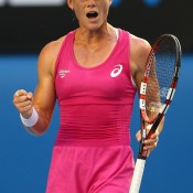 MELBOURNE, AUSTRALIA - JANUARY 15:  Samantha Stosur of Australia celebrates a point in her second round match against Tsvetana Pironkova of Bulgaria during day three of the 2014 Australian Open at Melbourne Park on January 15, 2014 in Melbourne, Australia.  (Photo by Chris Hyde/Getty Images)