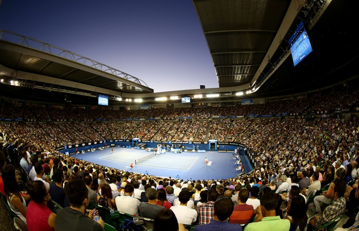 MELBOURNE, AUSTRALIA - JANUARY 26:  a general view of Rod Laver Arena in the men's final match between Rafael Nadal of Spain and Stanislas Wawrinka of Switzerland during day 14 of the 2014 Australian Open at Melbourne Park on January 26, 2014 in Melbourne, Australia.  (Photo by Matt King/Getty Images)