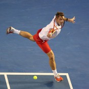 MELBOURNE, AUSTRALIA - JANUARY 26:  Stanislas Wawrinka of Switzerland plays a backhand in his men's final match against Rafael Nadal of Spain during day 14 of the 2014 Australian Open at Melbourne Park on January 26, 2014 in Melbourne, Australia.  (Photo by Michael Dodge/Getty Images)