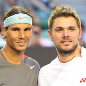 MELBOURNE, AUSTRALIA - JANUARY 26:  Rafael Nadal (L) of Spain and Stanislas Wawrinka of Switzerland pose for a photo ahead of their final match during day 14 of the 2014 Australian Open at Melbourne Park on January 26, 2014 in Melbourne, Australia.  (Photo by Quinn Rooney/Getty Images)