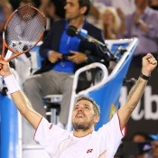 MELBOURNE, AUSTRALIA - JANUARY 26:  Stanislas Wawrinka of Switzerland celebrates winning championship point in his men's final match against Rafael Nadal of Spain during day 14 of the 2014 Australian Open at Melbourne Park on January 26, 2014 in Melbourne, Australia.  (Photo by Quinn Rooney/Getty Images)