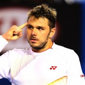 MELBOURNE, AUSTRALIA - JANUARY 26:  Stanislas Wawrinka of Switzerland celebrates a point in his men's final match against Rafael Nadal of Spain during day 14 of the 2014 Australian Open at Melbourne Park on January 26, 2014 in Melbourne, Australia.  (Photo by Quinn Rooney/Getty Images)
