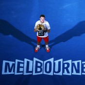 MELBOURNE, AUSTRALIA - JANUARY 26:  Stanislas Wawrinka of Switzerland holds the Norman Brookes Challenge Cup after winning his men's final match against Rafael Nadal of Spain during day 14 of the 2014 Australian Open at Melbourne Park on January 26, 2014 in Melbourne, Australia.  (Photo by Michael Dodge/Getty Images)
