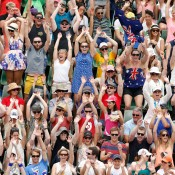 MELBOURNE, AUSTRALIA - JANUARY 18:  Tennis fans perform a mexican wave during day six of the 2014 Australian Open at Melbourne Park on January 18, 2014 in Melbourne, Australia.  (Photo by Scott Barbour/Getty Images)