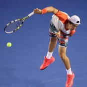 MELBOURNE, AUSTRALIA - JANUARY 16:  Thanasi Kokkinakis of Australia serves in his second round match against Rafael Nadal of Spain during day four of the 2014 Australian Open at Melbourne Park on January 16, 2014 in Melbourne, Australia.  (Photo by Clive Brunskill/Getty Images)