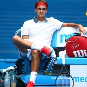 MELBOURNE, AUSTRALIA - JANUARY 18:  Roger Federer of Switzerland looks on in his third round match against Teymuraz Gabashvili of Russia during day six of the 2014 Australian Open at Melbourne Park on January 18, 2014 in Melbourne, Australia.  (Photo by Ryan Pierse/Getty Images)