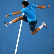 MELBOURNE, AUSTRALIA - JANUARY 18: Jo-Wilfried Tsonga of France celebrates winning his third round match against Gilles Simon of France during day six of the 2014 Australian Open at Melbourne Park on January 18, 2014 in Melbourne, Australia.  (Photo by Quinn Rooney/Getty Images)
