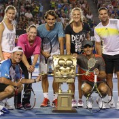 MELBOURNE, AUSTRALIA - JANUARY 11:  (L-R) Lleyton Hewitt, Eugenie Bouchard, Samantha Stosur, Roger Federer, Victoria Azarenka, Rafael Nadal and Pat Rafter pose following the Rod Laver Arena Spectacular as part of Kids Tennis Day ahead of the 2014 Australian Open at Melbourne Park on January 11, 2014 in Melbourne, Australia.  (Photo by Graham Denholm/Getty Images)
