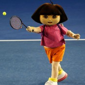 MELBOURNE, AUSTRALIA - JANUARY 11:  Cartoon character Dora the Explorer takes part in Kids Tennis Day ahead of the 2014 Australian Open at Melbourne Park on January 11, 2014 in Melbourne, Australia.  (Photo by Darrian Traynor/Getty Images)