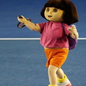 MELBOURNE, AUSTRALIA - JANUARY 11:  Cartoon character Dora the Explorer take part in the Kids Tennis Day ahead of the 2014 Australian Open at Melbourne Park on January 11, 2014 in Melbourne, Australia.  (Photo by Darrian Traynor/Getty Images)