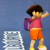 MELBOURNE, AUSTRALIA - JANUARY 11:  Cartoon character Dora the Explorer waves to the crowd at the Kids Tennis Day ahead of the 2014 Australian Open at Melbourne Park on January 11, 2014 in Melbourne, Australia.  (Photo by Darrian Traynor/Getty Images)
