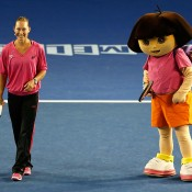 MELBOURNE, AUSTRALIA - JANUARY 11:  Sam Stosur fo Australia and Dora the Explorer take part in The Kids Tennis Day ahead of the 2014 Australian Open at Melbourne Park on January 11, 2014 in Melbourne, Australia.  (Photo by Darrian Traynor/Getty Images)