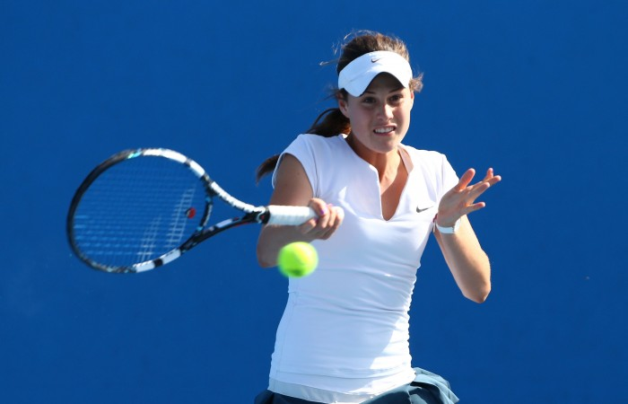 Kimberly Birrell in action during the 2014 Australian Open Junior Championships at Melbourne Park on January 19, 2014 in Melbourne, Australia.