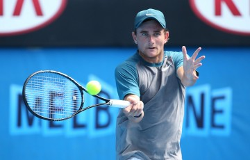 MELBOURNE, AUSTRALIA - JANUARY 24:  Bradley Mousley of Australia plays a forehand in his semifinal match against Alexander Zverev of Germany during the 2014 Australian Open Junior Championships at Melbourne Park on January 24, 2014 in Melbourne, Australia.  (Photo by Chris Hyde/Getty Images)