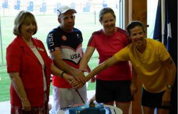 Australia and USA players at Benalla Lawn Tennis Club.