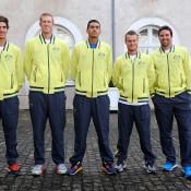 The team at the draw: Thanasi Kokkinakis, Chris Guccione, Nick Kyrgios, Lleyton Hewitt and Pat Rafter, France, 2014.  © FFT/P. Montigny