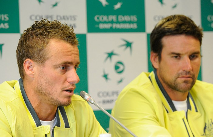 Lleyton Hewitt and Pat Rafter answer questions, France, 2014.  © FFT/P. Montigny
