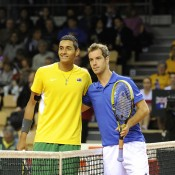 Nick Kyrgios and Richard Gasquet pose prior to the first rubber, France, 2014.  © FFT/P. Montigny