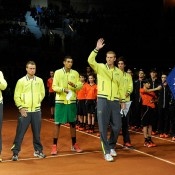 The Australian team is introduced during the opening ceremony, France, 2014.  © FFT/P. Montigny