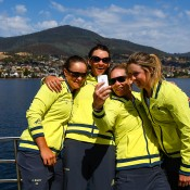 Australian team members (L-R) Ashleigh Barty, Casey Dellacqua, Samantha Stosur and Storm Sanders take a selfie before the official draw ahead of the Fed Cup Tie between Australia and Russia on February 7, 2014 in Hobart, Australia.  (Photo by Mark Nolan/Getty Images)