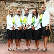 (L-R) Storm Sanders, Ashleigh Barty, Samantha Stosur, Casey Dellacqua and Alicia Molik of Australia pose for a photo before the official dinner ahead of the Fed Cup Tie between Australia and Russia on February 6, 2014 in Hobart, Australia.  (Photo by Mark Nolan/Getty Images)