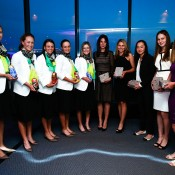 The Australian team and Russian team pose for a photo during the official dinner ahead of the Fed Cup Tie between Australia and Russia on February 6, 2014 in Hobart, Australia.  (Photo by Mark Nolan/Getty Images)