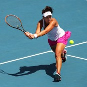 Casey Dellacqua of Australia plays a volley in her singles match against Irina Khromacheva of Russia during the Fed Cup tie between Australia and Russia on February 8, 2014 in Hobart, Australia.  (Photo by Mark Nolan/Getty Images)