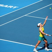 Samantha Stosur of Australia serves in her singles match against Veronica Kudermetova of Russia during the Fed Cup tie between Australia and Russia on February 8, 2014 in Hobart, Australia.  (Photo by Mark Nolan/Getty Images)