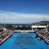 A general view of the stadium during the Fed Cup tie between Australia and Russia at the Domain Tennis Centre on February 8, 2014 in Hobart, Australia.  (Photo by Mark Nolan/Getty Images)