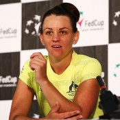 Casey Dellacqua of Australia talks to the media after her singles win against Irina Khromacheva of Russia during the Fed Cup tie between Australia and Russia on February 8, 2014 in Hobart, Australia.  (Photo by Mark Nolan/Getty Images)