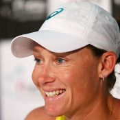 Samantha Stosur of Australia talks to the media after winning her singles match against Victoria Kan of Russia during the Fed Cup tie between Australia and Russia at the Domain Tennis Centre on February 9, 2014 in Hobart, Australia.  (Photo by Mark Nolan/Getty Images)
