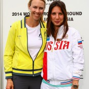 Australian captain Alicia Molik (L) and Russian captain Anastasia Myskina pose for a photo during the official draw ahead of the Fed Cup Tie between Australia and Russia on February 7, 2014 in Hobart, Australia.  (Photo by Mark Nolan/Getty Images)