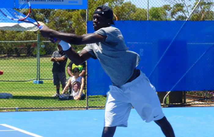 Jamere Jenkins in action at the Charles Sturt Adelaide International; Anne Bland