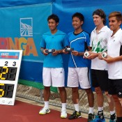 Second seeds Marcus Daniell of New Zealand (second from right) and Dane Propoggia of Australia (right) pose with their trophies after winning the City of Onkaparinga Tennis International men's doubles title over Japanese third seeds Takuto Niki and Yasutaka Uchiyama 6-3 6-2; Tennis Australia