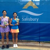 Misa Eguchi and Miki Miyamura of Japan pose with the winning trophies after capturing the women's doubles title at the City of Salisbury Tennis International; Tennis Australia