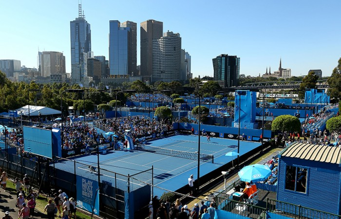 A general view of the outside courts during day one of the 2014 Australian Open at Melbourne Park on January 13, 2014 in Melbourne, Australia; Matt King/Getty Images